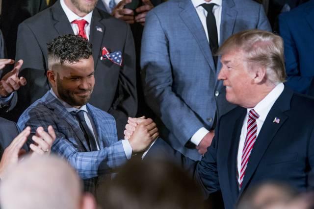Trump recibe a los Astros en la Casa Blanca, Correa ausente