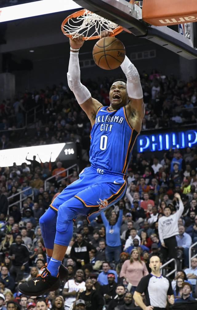 Westbrook llega a 100 'triples dobles'; Thunder gana