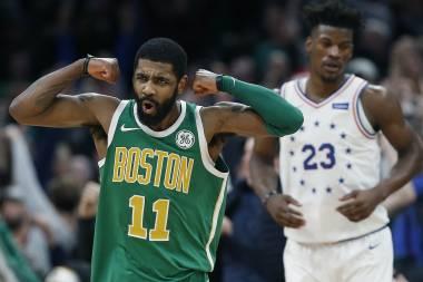 Irving aporta 40 puntos; Celtics vencen a 76ers en prórroga